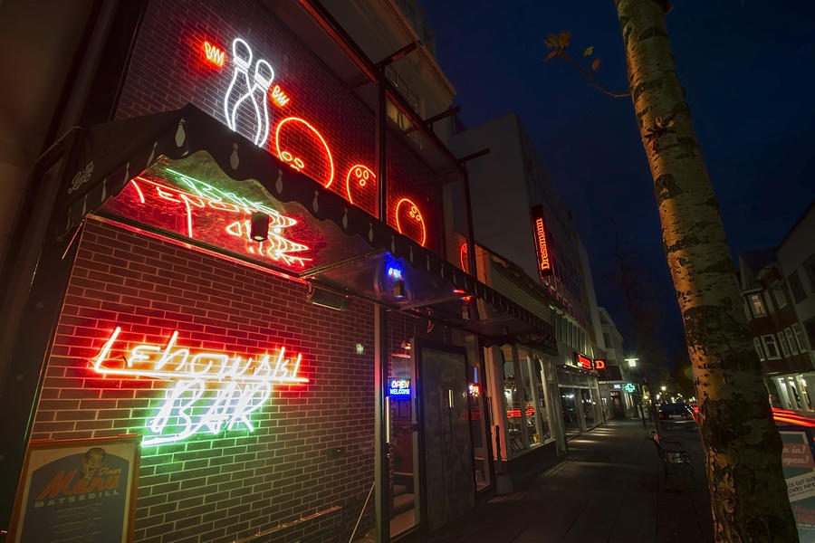 Lebowski Bar At Night Photograph