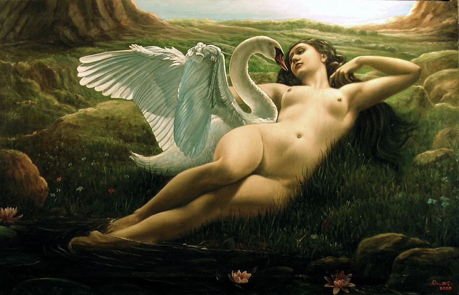 Leda And The Swan - Sensual Painting