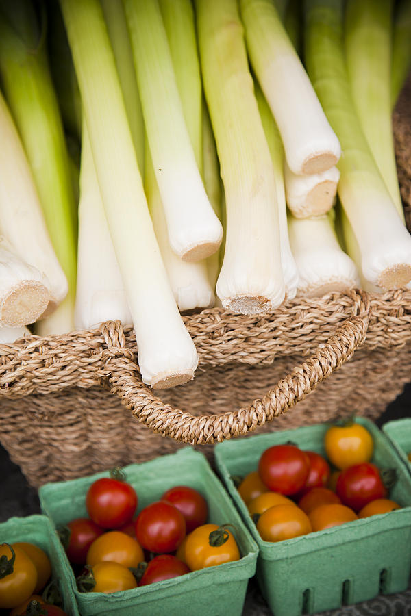 Leeks And Tomatoes At A Market Stall Photograph  - Leeks And Tomatoes At A Market Stall Fine Art Print