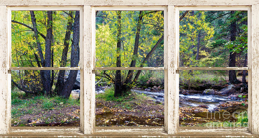 Left Hand Creek Rustic Window View Colorado Photograph  - Left Hand Creek Rustic Window View Colorado Fine Art Print