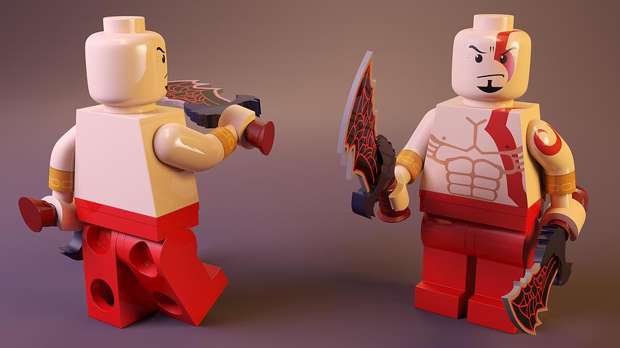 Lego Kratos Digital Art