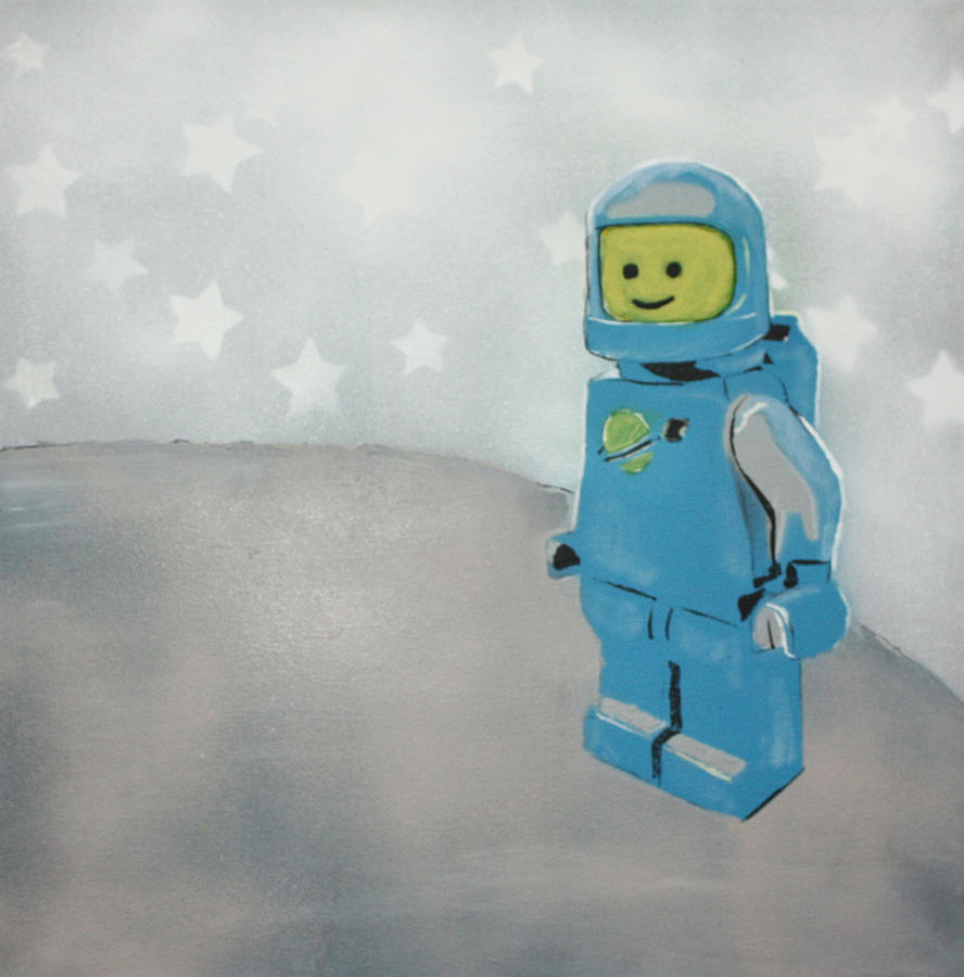 Lego Man On The Moon Painting  - Lego Man On The Moon Fine Art Print