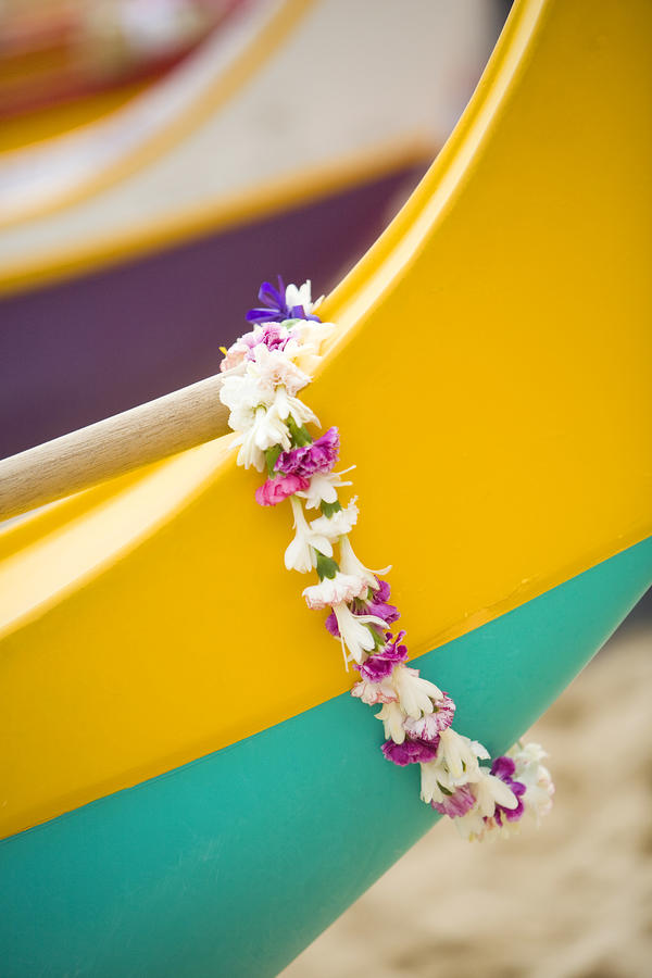 Lei Draped Over Outrigger Photograph  - Lei Draped Over Outrigger Fine Art Print