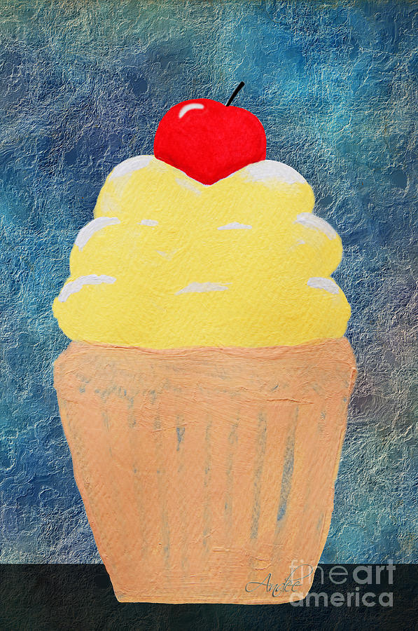 Lemon Cupcake With A Cherry On Top Painting  - Lemon Cupcake With A Cherry On Top Fine Art Print