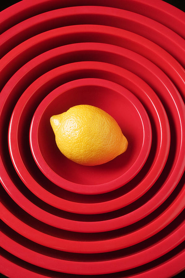 Lemon In Red Bowls Photograph  - Lemon In Red Bowls Fine Art Print