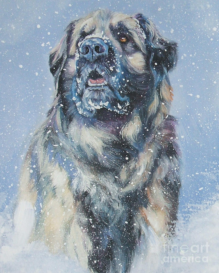 Leonberger In Snow Painting by Lee Ann Shepard - Leonberger In ...