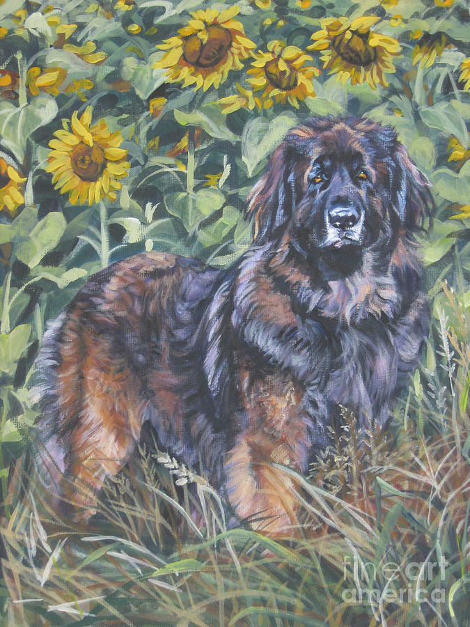 Leonberger In Sunflowers Painting