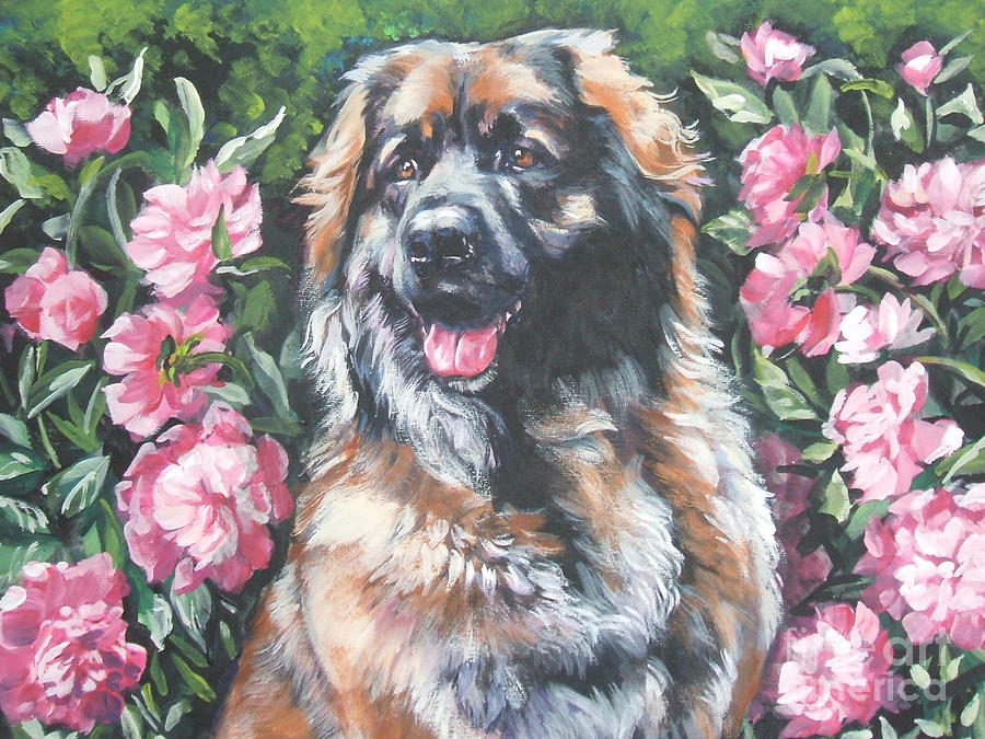 Leonberger In The Peonies Painting  - Leonberger In The Peonies Fine Art Print
