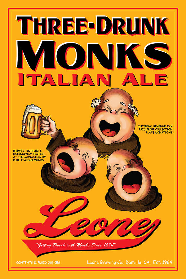 Leone Three Drunk Monks Drawing  - Leone Three Drunk Monks Fine Art Print