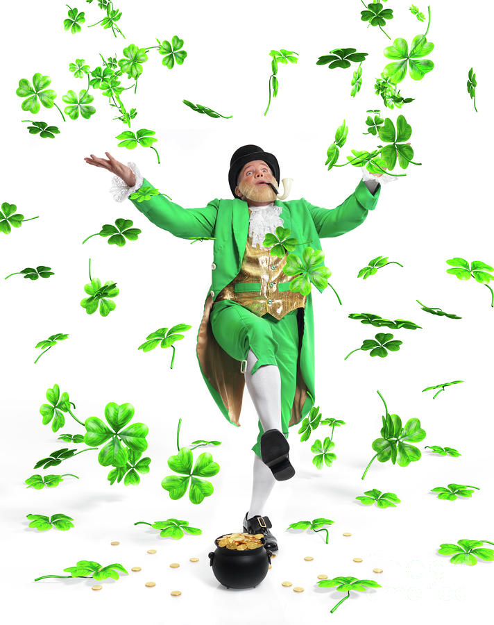 Leprechaun Tossing Shamrock Leaves Up In The Air Photograph