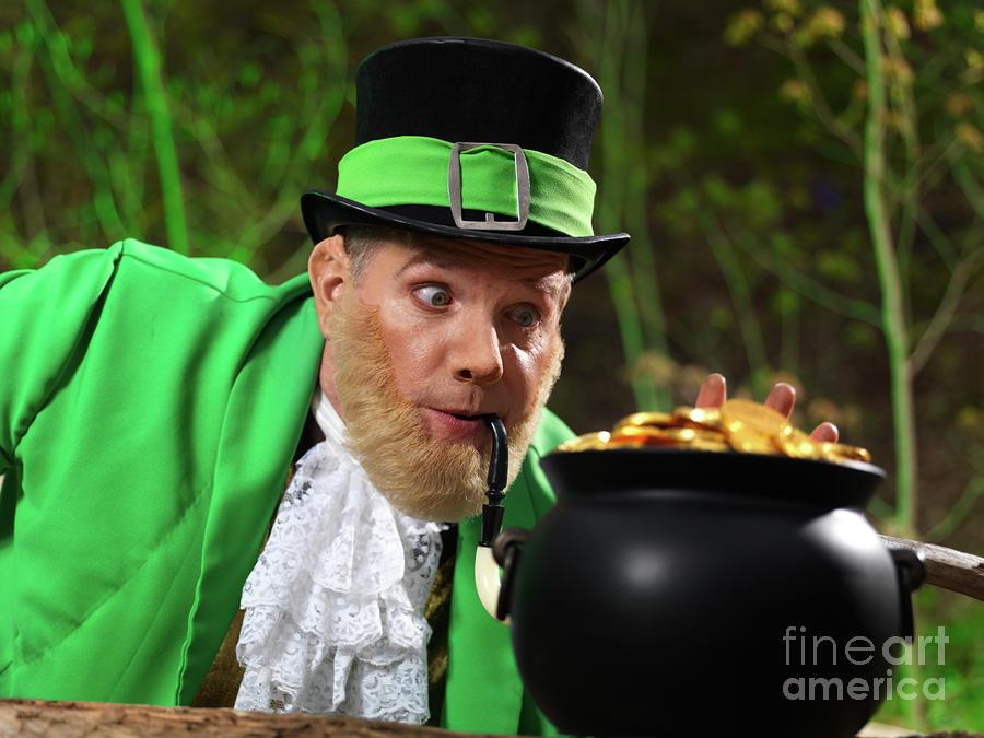 Leprechaun With Pot Of Gold Photograph