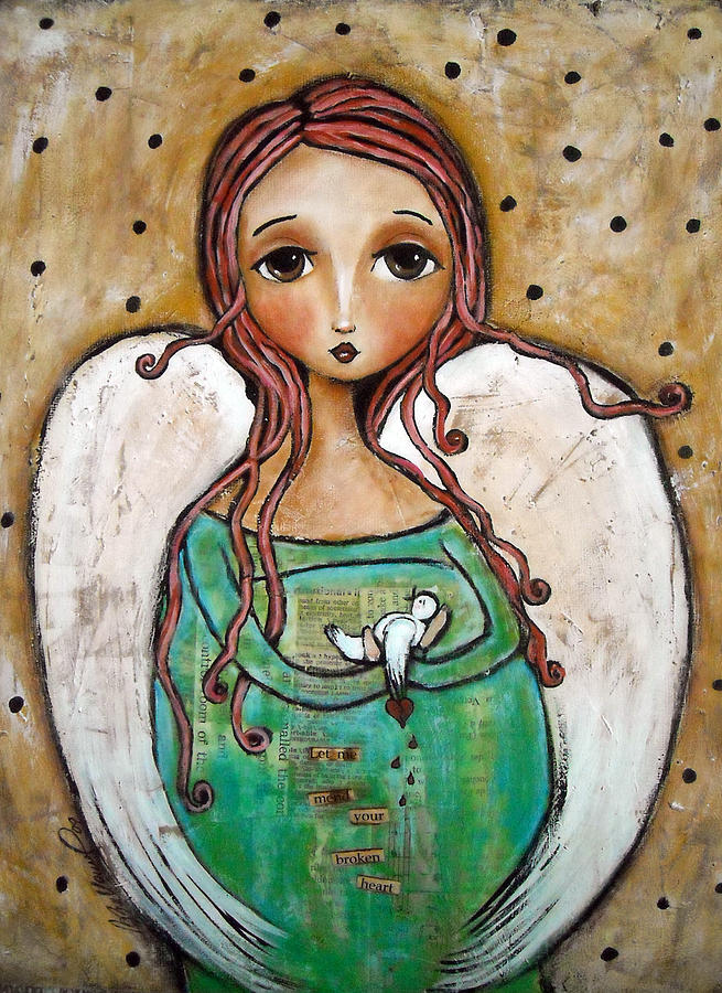 Let me mend your broken heart painting let me mend your for Angel paintings for sale