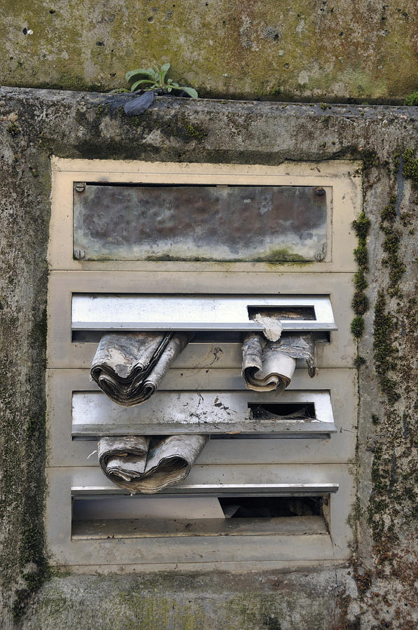 Letterbox With Old Newspapers Photograph  - Letterbox With Old Newspapers Fine Art Print