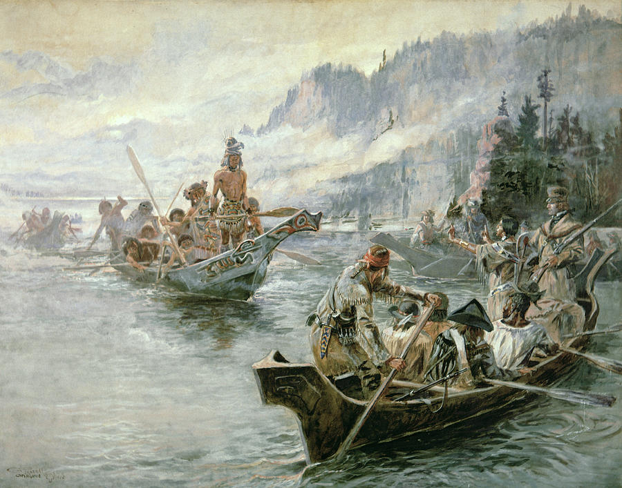 Lewis And Clark On The Lower Columbia River Painting  - Lewis And Clark On The Lower Columbia River Fine Art Print