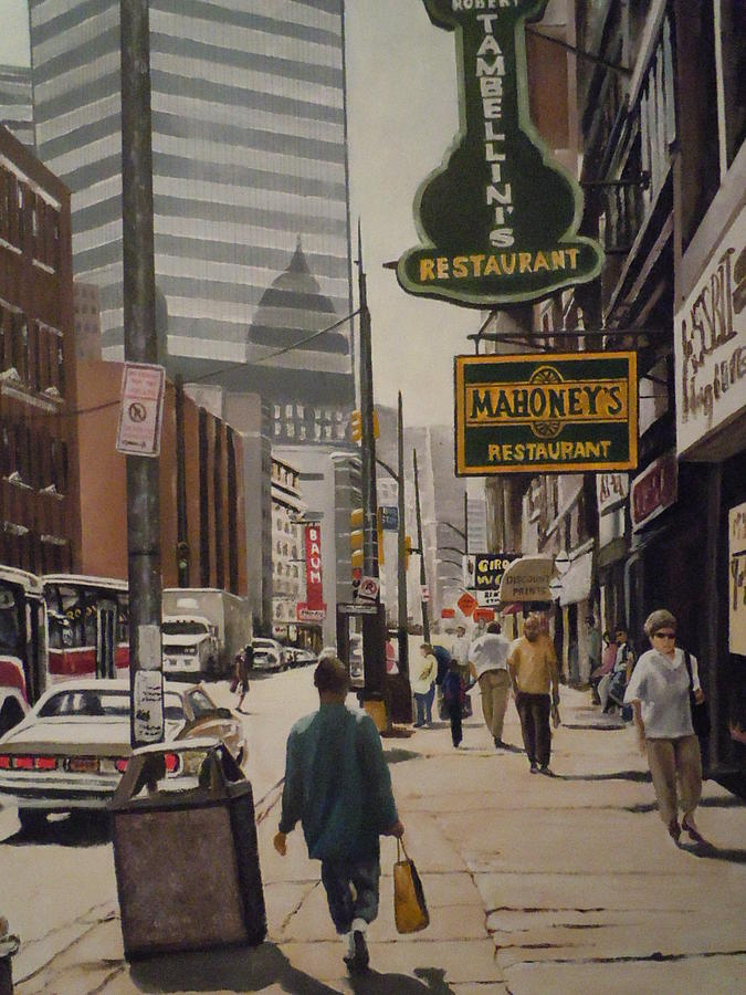 Cityscape   Urban Scene Painting - Liberty Avenue In The 80s by James Guentner