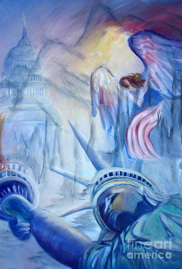 Liberty Country Free Freedom Peace God We Trust Angel Capitol Statue Of Liberty United States Flag Old Glory Justice America Home Of The Brave Star Spangled Banner  Republic Painting - Liberty For  All by Judy Groves
