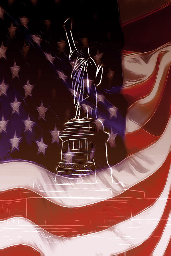 Liberty Statue Us Usa Ny New York Freedom Stars Stripes Flag Nation National Flame Mixed Media - Liberty For All by Steve K