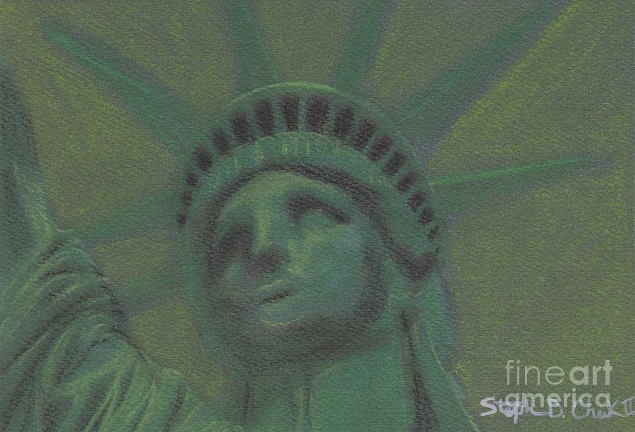 Statue Of Liberty Pastel - Liberty In Green by Stephen Cheek II