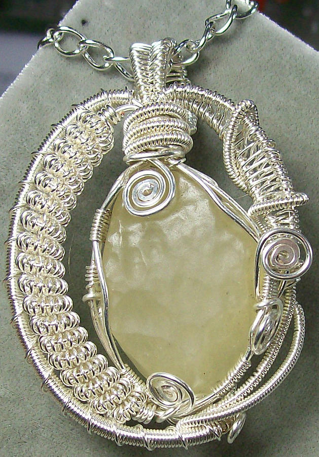 Libyan Desert Glass And Silver Pendant Jewelry