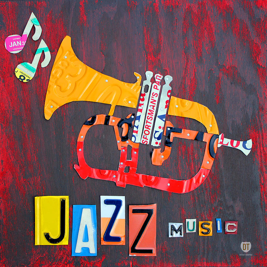 License Plate Art Jazz Series Number One Trumpet Mixed Media  - License Plate Art Jazz Series Number One Trumpet Fine Art Print