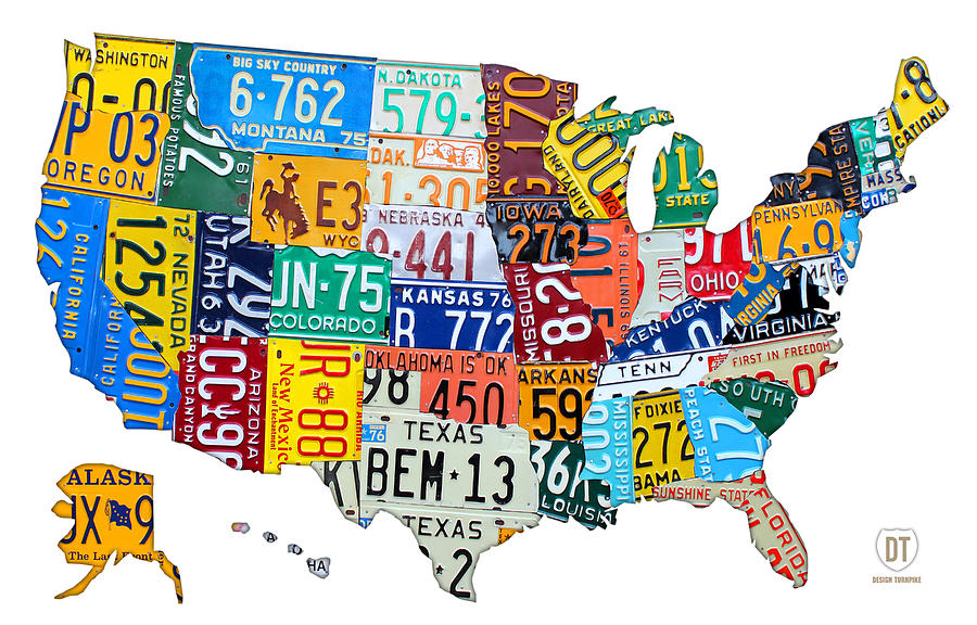 License Plate Map Of The United States Outlined Mixed Media  - License Plate Map Of The United States Outlined Fine Art Print
