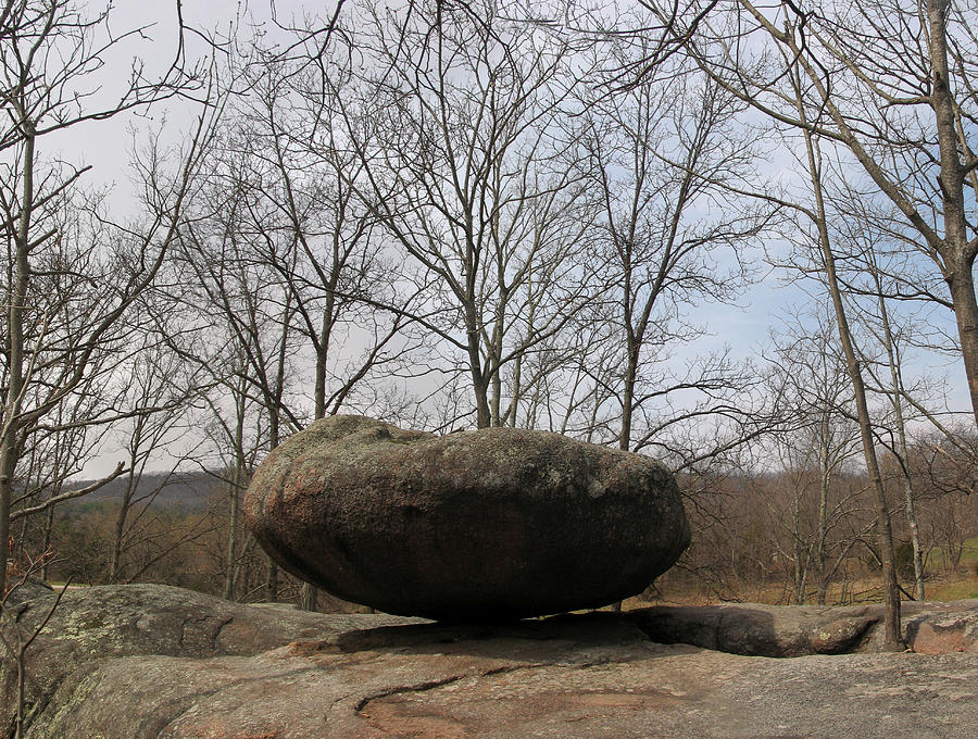 Lichen Covered Granite Boulder Balanced On Hill Photograph