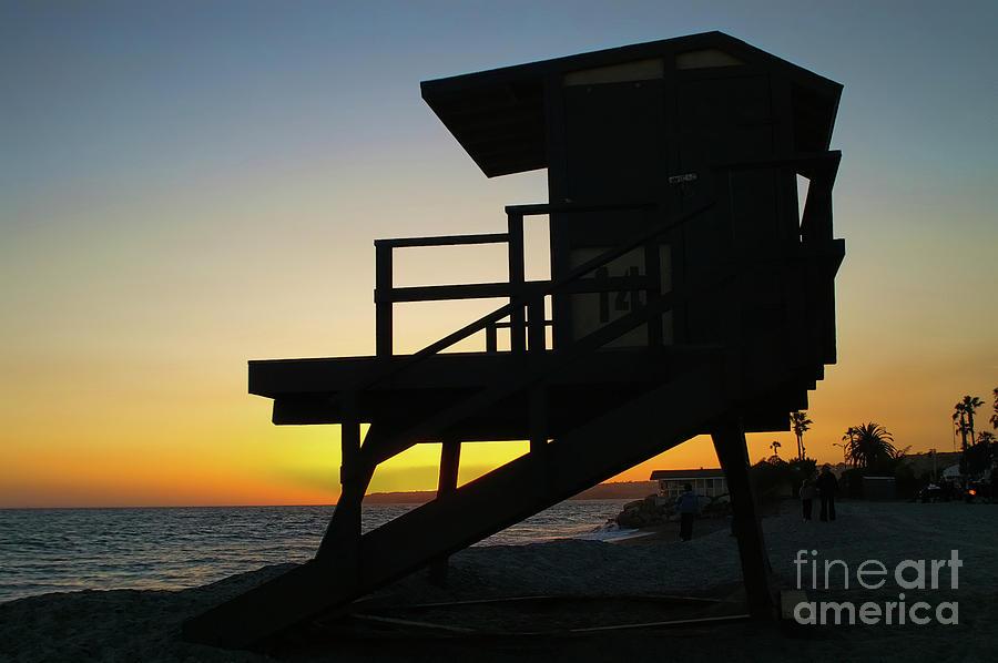 Sunset Photograph - Lifeguard Silhouette by Mariola Bitner