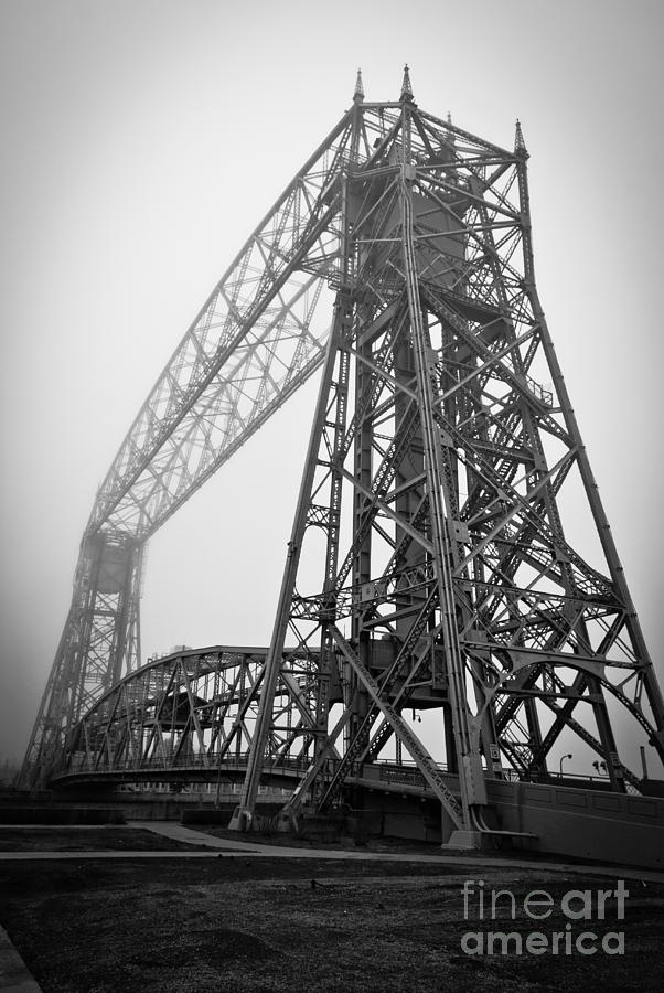 Lift Bridge Standing Strong In Fog Photograph  - Lift Bridge Standing Strong In Fog Fine Art Print