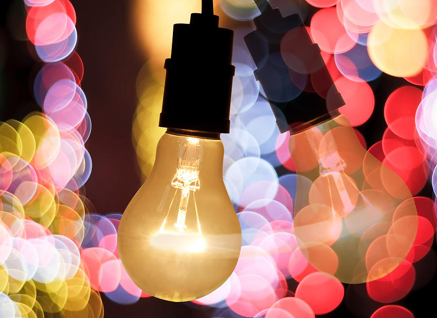 Light Bulb And Bokeh Photograph  - Light Bulb And Bokeh Fine Art Print