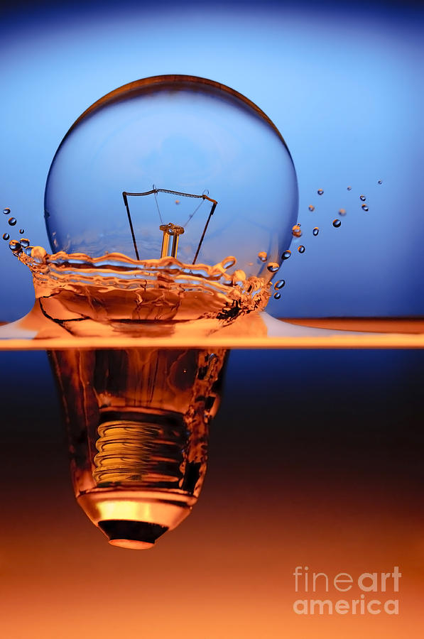 Light Bulb And Splash Water Photograph  - Light Bulb And Splash Water Fine Art Print