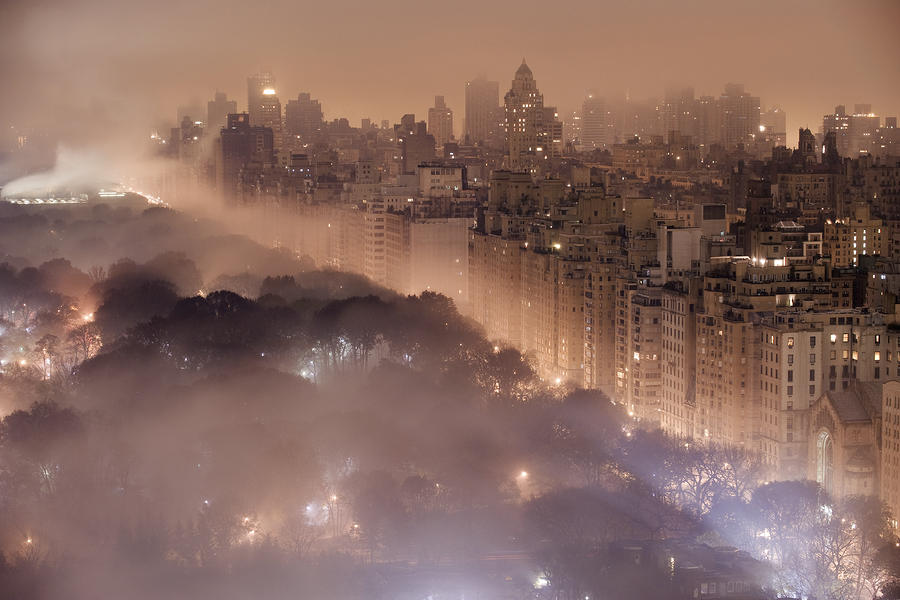 Light Pollution And Fog Combine To Blur Photograph