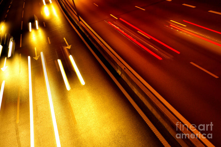 Asphalt Photograph - Light Trails by Carlos Caetano