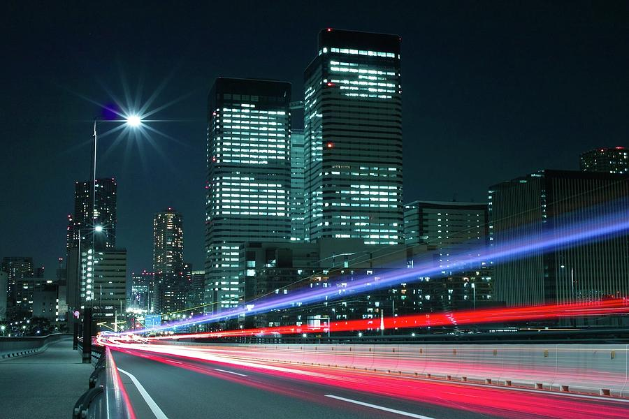 Light Trails On The Street In Tokyo Photograph
