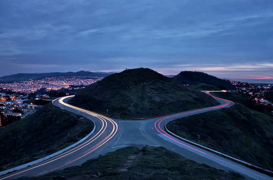 Light Trails On Twin Peaks, San Francisco Photograph  - Light Trails On Twin Peaks, San Francisco Fine Art Print