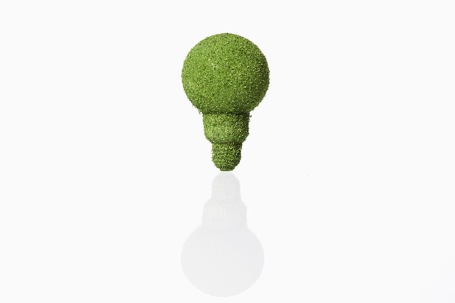 Lightbulb Covered With Grass On White Background Photograph