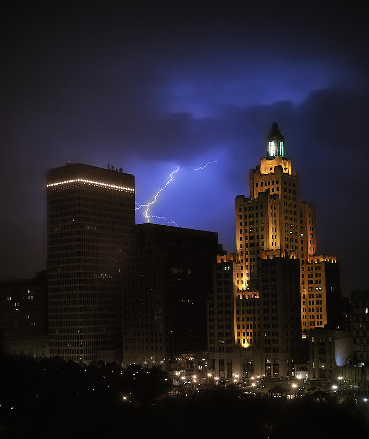 Lightening Over Providence Photograph  - Lightening Over Providence Fine Art Print