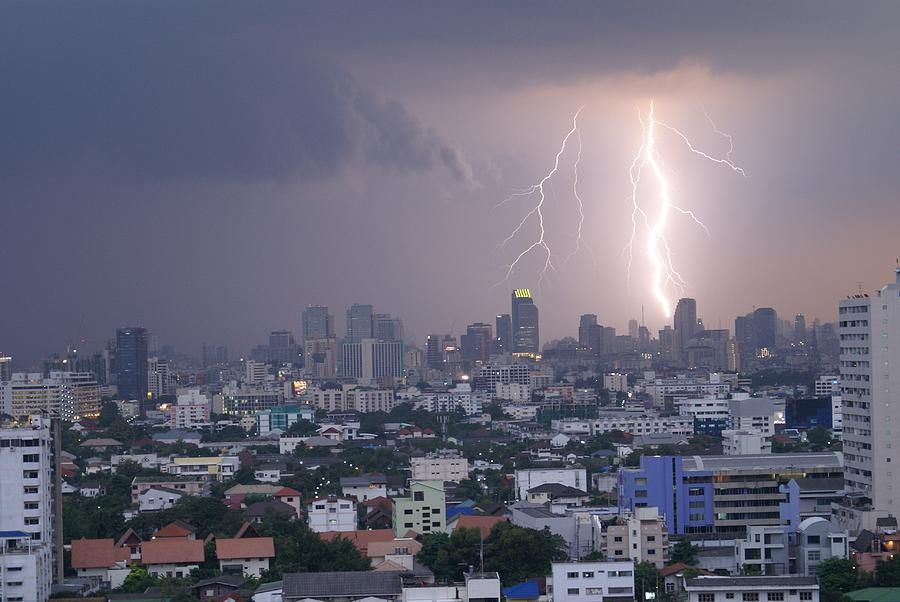 Lightening Photograph - Lightening Strikes Bangkok by Gregory Smith