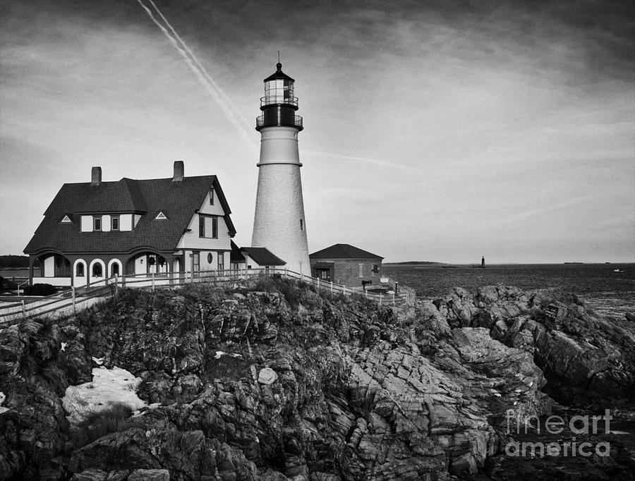 Lighthouse At Cape Elizabeth Me II - Black And White ...