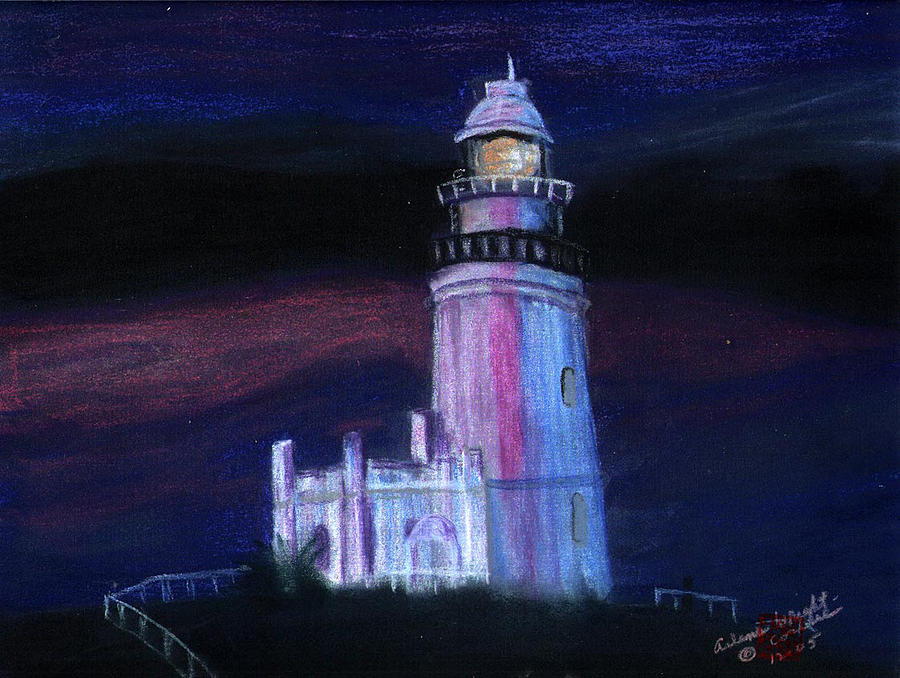 Lighthouse At Dusk Painting  - Lighthouse At Dusk Fine Art Print