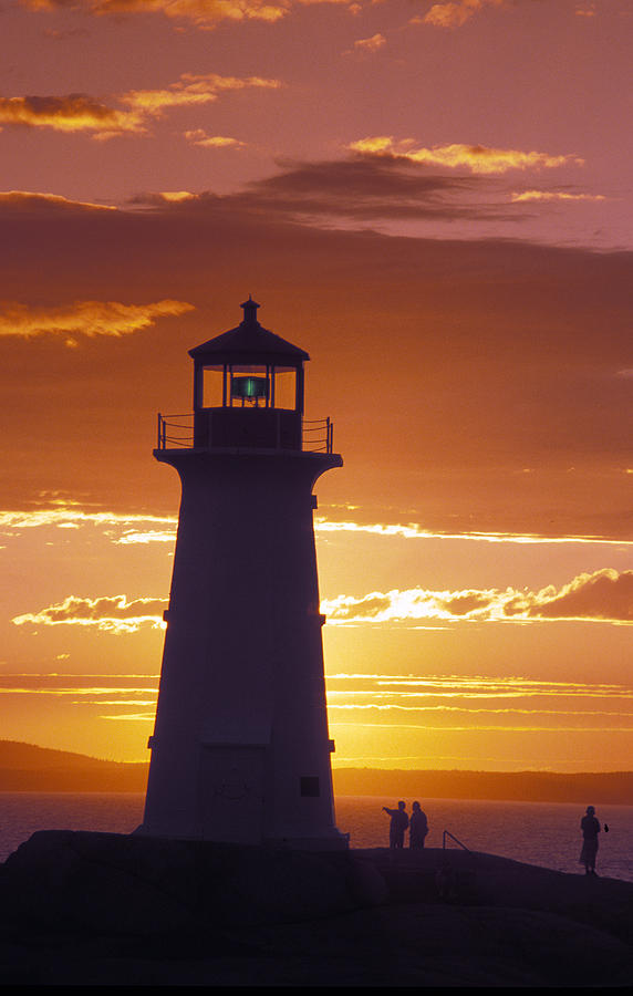 Lighthouse At Sunset In Peggys Cove Photograph  - Lighthouse At Sunset In Peggys Cove Fine Art Print