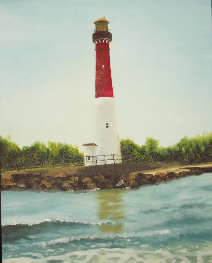 Lighthouse In Long Beach Island Painting