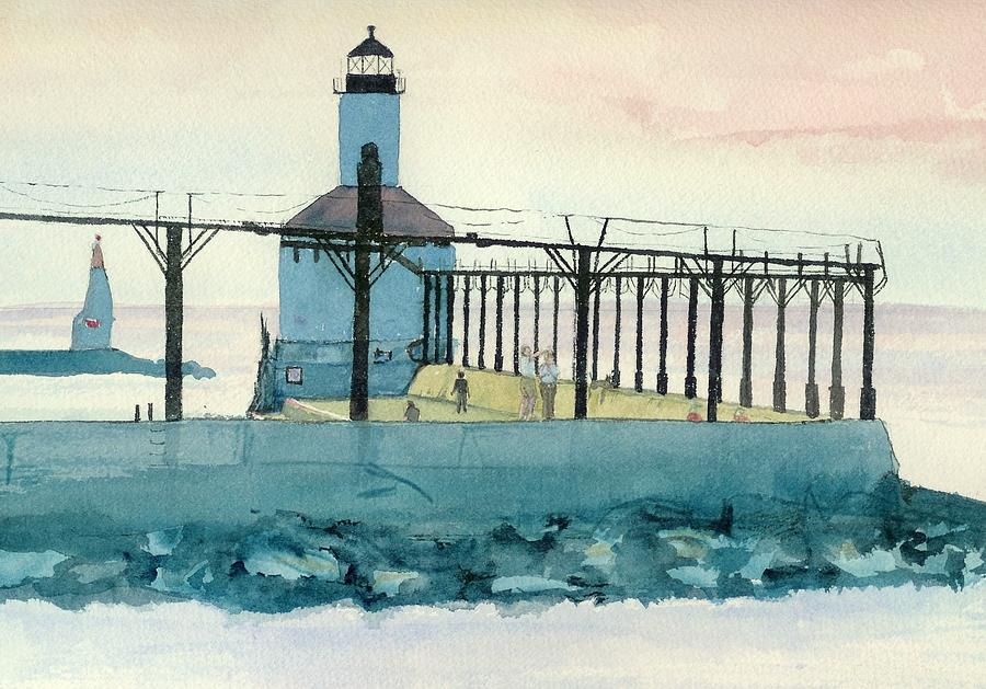 Lighthouse In Michigan City Painting  - Lighthouse In Michigan City Fine Art Print