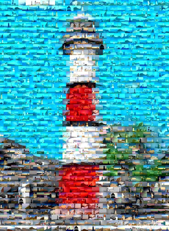 Lighthouse Made Of Lighthouses Mosaic Mixed Media  - Lighthouse Made Of Lighthouses Mosaic Fine Art Print