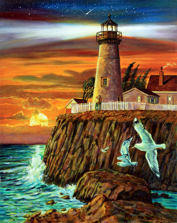 Lighthouse Sunset Painting By John Lautermilch