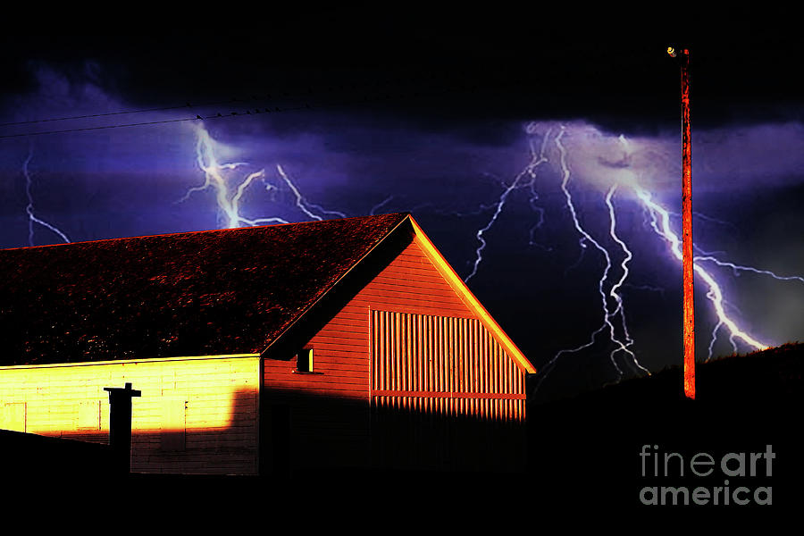 Lightning At The Old Ranch . 40d4577 Photograph  - Lightning At The Old Ranch . 40d4577 Fine Art Print