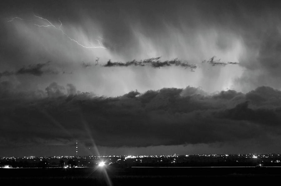 Lightning Cloud Burst Black And White Photograph