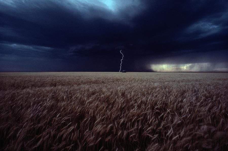 Lightning Flashes Above A Kansas Wheat Photograph
