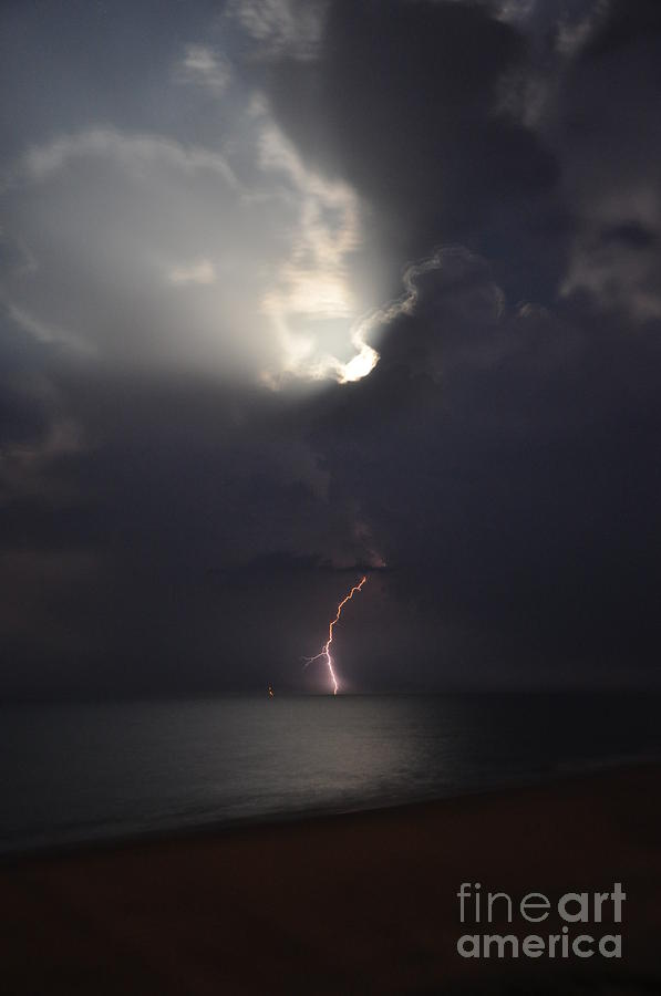 Lightning On Sandbridge Photograph  - Lightning On Sandbridge Fine Art Print