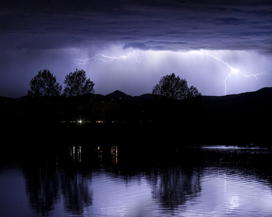 Lightning Over Coot Lake Photograph