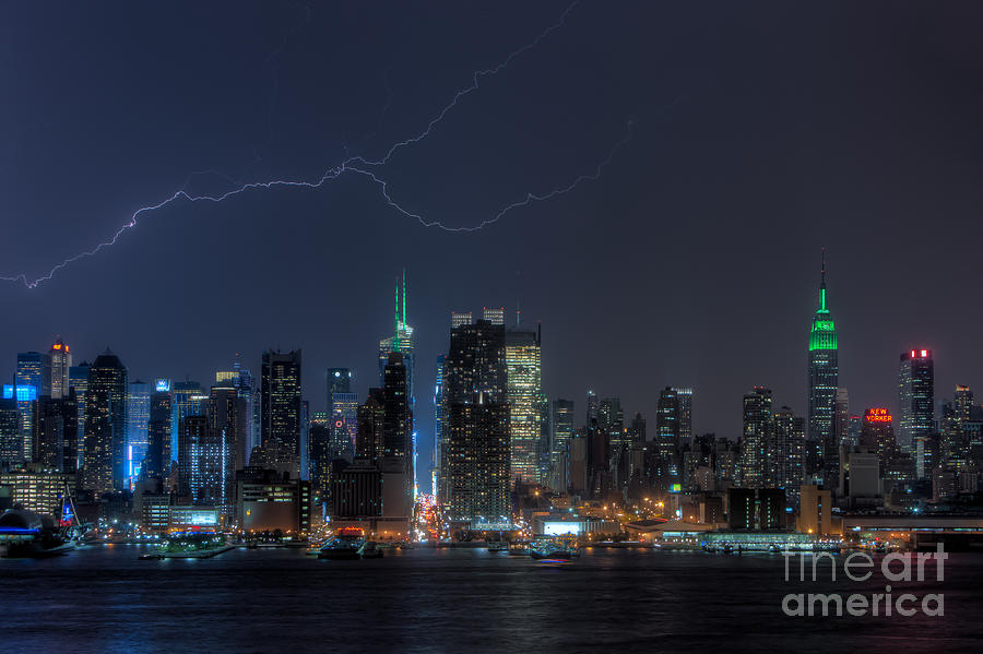 Lightning Over New York City Ix Photograph  - Lightning Over New York City Ix Fine Art Print